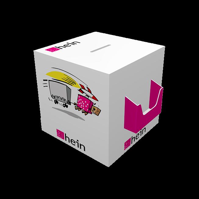 Losbox 300x300x300 mit Dispenser quer