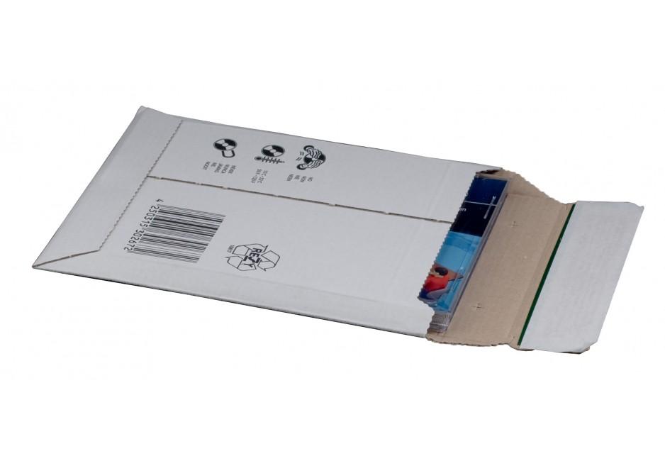 Versandtasche aus Wellpappe, weiß, CD, 145 × 190 × 25 mm