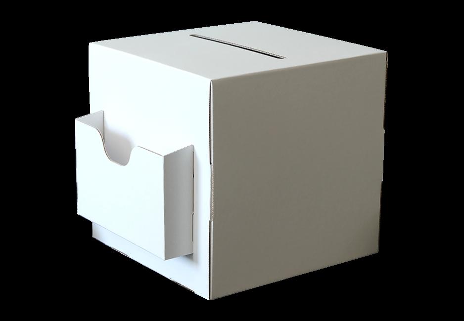 Losbox 200x200x200 mit Dispenser quer