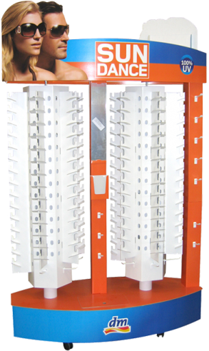 Drehbares Brillendisplay aus Pappe