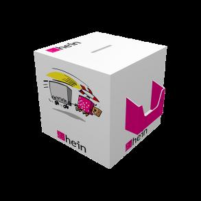 Losbox 300×300×300 mit Dispenser quer